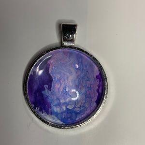 Jewelry - Handmade acrylic pour purple, blue & white pendant